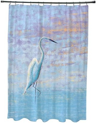 "E By Design Simply Daisy 71"" x 74"" Egret Animal Print Shower Curtain"