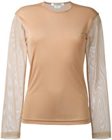 Junya Watanabe Comme Des Garçons - mesh sleeve sweatshirt - women - Nylon/Polyester - S