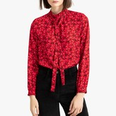 La Redoute Collections Floral Print Pussy-Bow Blouse with Long Sleeves