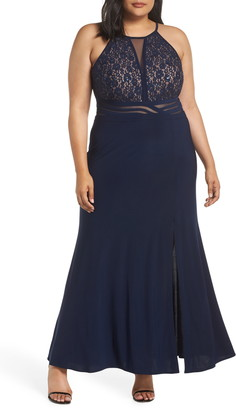 Morgan & Co. Illusion Inset Lace Bodice Gown