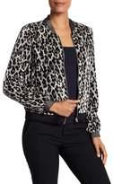 T Tahari Velvet Cheetah Print Bomber Jacket