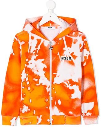 Msgm Kids Tie Dye Print Hoodie