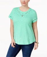 Charter Club Plus Size Cotton Embroidered T-Shirt, Created for Macy's