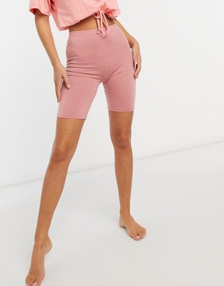 Outrageous Fortune loungewear bodycon shorts in pink
