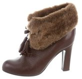 Viktor & Rolf Leather Shearling-Lined Ankle Boots