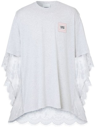 Burberry Chantilly Lace Cape Detail Cotton Oversized T-shirt