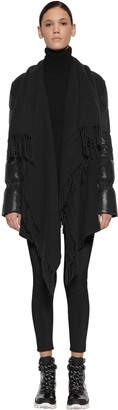 Moncler Wool Cape Laque Down Jacket