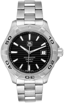 Tag Heuer Black Stainless Steel Aquaracer WAY2110 Men's Wristwatch 40.5MM