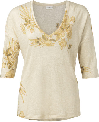 Ya-Ya Linen v neck top - linen | sand | Small. - Sand