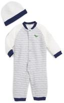 Little Me Infant Boy's Striped Dino Romper & Hat Set