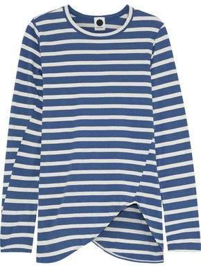 Bassike Asymmetric Striped Organic Cotton-jersey Top