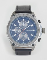 Police Contact Mens Watch Black Leather Strap With Blue Multi Functional Dial