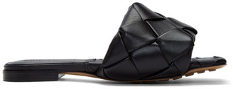 Bottega Veneta Black Intrecciato Lido Flat Sandals