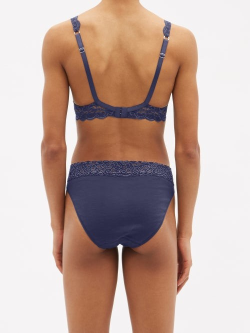 Thumbnail for your product : Hanro Moments Lace Underwired Bra - Dark Blue