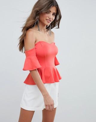 Bardot Asos Design ASOS DESIGN pep hem top in scuba-Orange