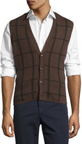 Luciano Barbera Cashmere-Blend Plaid Sweater Vest, Brown