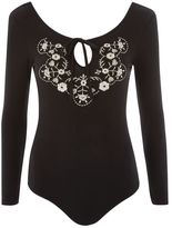Topshop Embroidered long sleeve body