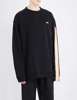 Raf Simons Bleached-sleeve cotton sweatshirt
