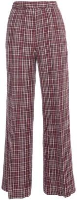 Aspesi Linen Check Pants Elastic Waist