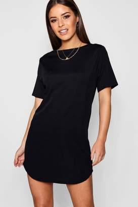 boohoo Petite Rib Curve Hem T-Shirt Dress