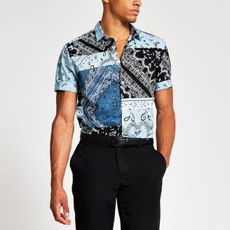 River Island Mens Blue bandana print regular fit shirt