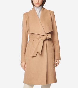 Cole Haan Melange Twill Wrap Coat