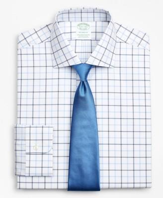 Brooks Brothers Stretch Milano Slim-Fit Dress Shirt, Non-Iron Poplin English Collar Double-Grid Check