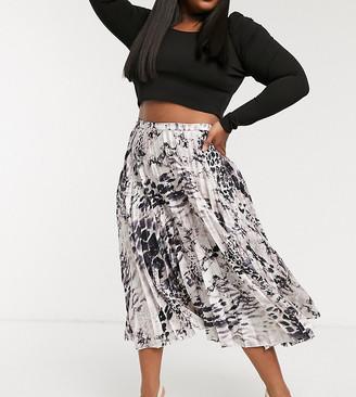 ASOS DESIGN Curve satin pleated midi skirt in mono animal print