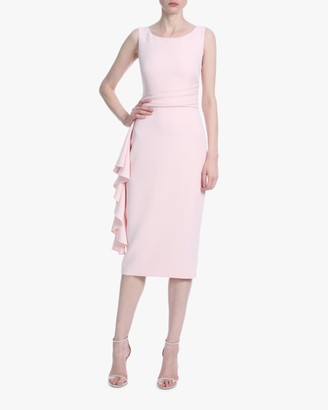 Badgley Mischka Ruffled Sheath Cocktail Dress