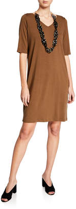 Eileen Fisher V-Neck Jersey Shift Dress