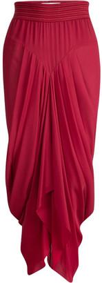 Prabal Gurung Red Silk Pleat Detail Draped Maxi Skirt S