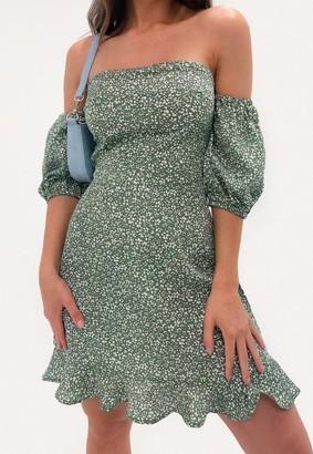 Missguided Green Floral Tie Back Ruffle Hem Mini Dress