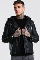 boohoo Mens Black Leather Look Biker With Jersey Hood, Black