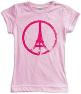 Urban Smalls Pink Eiffel Tower Peace Sign Fitted Tee - Toddler & Girls