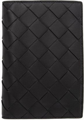 Bottega Veneta Black Intrecciato Bifold Passport Holder