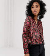 Milk It Vintage Wrap Front Top In Floral Printed Velvet