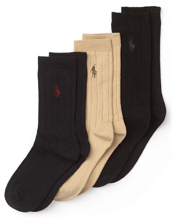 Ralph Lauren Boys' Ribbed Dress Socks, 3 Pack - Little Kid