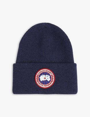 Canada Goose Logo-patch merino wool beanie hat