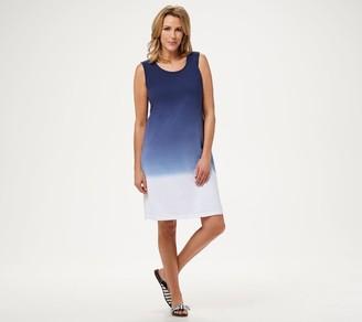 Denim & Co. Dip-Dye Sleeveless Scoop-Neck Dress