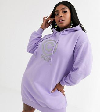 Asos DESIGN x Christian Cowan Curve hooded logo sweat dress-Purple