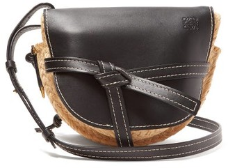 Loewe Gate Small Leather And Raffia Cross-body Bag - Womens - Black Multi