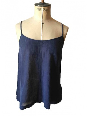 American Vintage Navy Cotton Top for Women