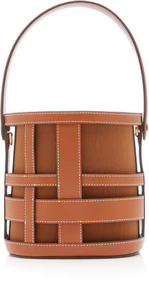 STAUD Brody Woven Leather Top Handle Bag