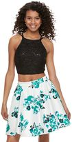 Speechless Juniors' Sequin Floral Halter Top & Skirt Set