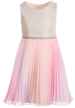 Bonnie Jean Little Girls Sleeveless Knit-Bodice Dress with Pleated Chiffon Skirt