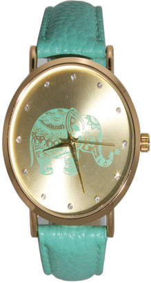 Women Artsy Elephant Rhinestone Leather Strap Watch 42mm