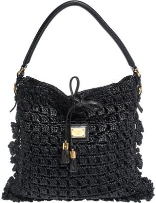 Dolce & Gabbana Black Crochet Straw and Leather Hobo