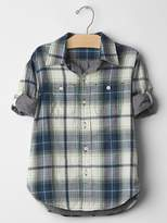 Gap Plaid double-weave convertible shirt