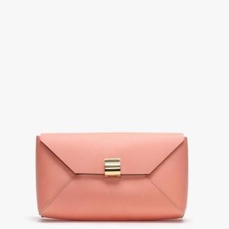 Dimoni Coral Leather Envelope Clutch Bag