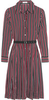 Equipment Shields Belted Striped Washed-silk Dress - Burgundy